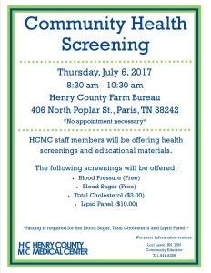 Community Health Screeing Flyer Farm Bureau 2017